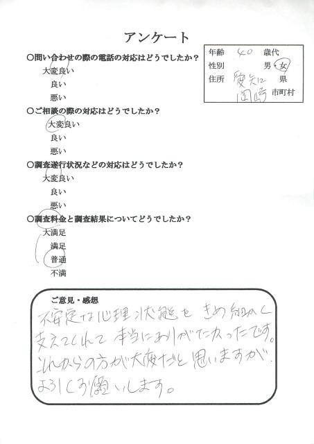 夫浮気 愛知県岡崎市 探偵 楓女性調査事務所 口コミ